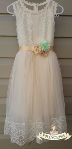 champagne flower girl dress baby dress by Theprincessandthebou