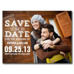 MODERN RUSTIC | SAVE THE DATE ANNOUNCEMENT POSTCARD