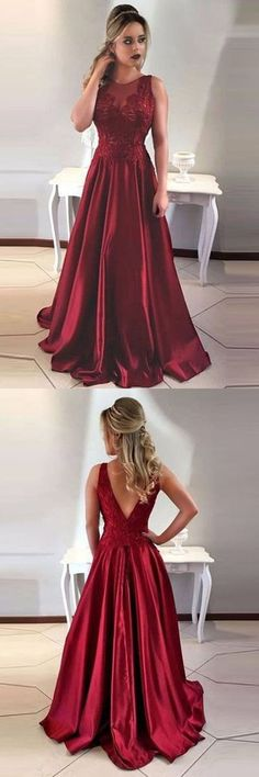 A-Line Round Neck V-Back Maroon Satin Prom Dresses with Lace G229
