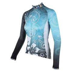 Ilpaladino Silver Flowers Blue Elegant Woman s Cycling long-sleeve Jersey Suit  Spring Summer Bicycling Pro Cycle Clothing Racing Apparel Outdoor Sports ... 1ca1622fc