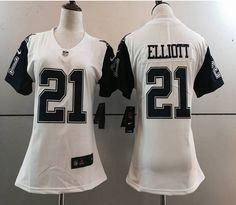 Women Nike NFL Dallas Cowboys #21 Elliott White Color Rush Limited Jersey