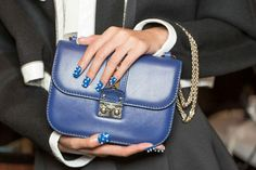 Valentino bag and blue polka dot nails
