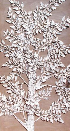 Lifesized Garden Tree Stenciled raised plaster