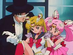 Darien aka Tuxedo Mask, Serena aka Sailor Moon, and Rini aka Sailor Mini Moon
