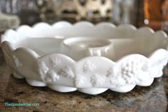 #Milk glass relish tray - I have 4 with the bowl and ladle that goes in the center!!