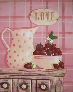Strawberries and Cream Folk Art Print by Kim's Cottage Art
