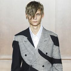 Mixing materials. Alexander McQueen, Menswear, SS15, London. Glen plaid panelled with plain and houndstooth suiting. [The Cutting Class]