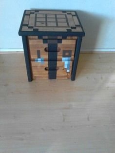 Minecraft crafting table - Regular table, painted cardboard top and between leg inserts.