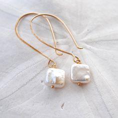 Square+Pearl+Earrings.+Handmade+Hammered+Ear+by+laurenamosdesigns,+$32.00