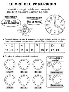 orologio Primary Maths, Primary School, Social Service Jobs, English Time, Learning Italian, Telling Time, Math For Kids, Teaching Math, Problem Solving