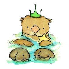 Children's Art Print Royal Otter 5x7 by trafalgarssquare on Etsy, $8.00