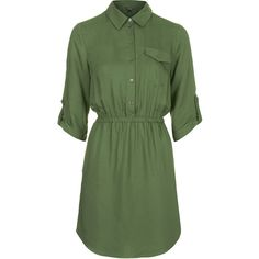 TOPSHOP Utility Twill Shirt Dress ($40) ❤ liked on Polyvore featuring dresses, vestidos, tops, robes, khaki, elastic waist dress, button up dress, green dress, green shirt dress and woven dress