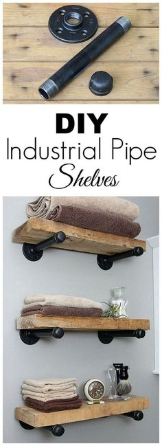 Super easy step by step tutorial for how to make DIY industrial pipe shelves at .Super easy step by step tutorial for how to make DIY industrial pipe shelves at a fraction of the cost of the store bought version. Industrial Pipe Shelves, Industrial House, Pipe Shelving, Kitchen Industrial, Industrial Style, Industrial Furniture, Vintage Industrial, Diy Pipe Shelves, Rustic Shelves