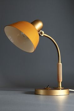 Anonymous for Siemens; table lamp, brass and enameled metal, Germany, c1950