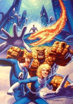 Fantastic Four Art by Greg & Tim Hildebrandt Comic Book Characters, Marvel Characters, Comic Character, Comic Books Art, Comic Art, Fantastic Four Marvel, Mister Fantastic, Marvel Comics Art, Marvel Heroes