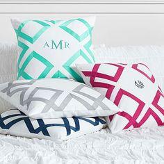 Option #1: Lattice Monogram Pillow Cover, grey with pool monogramming #pbteen