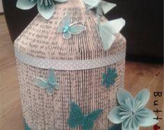 Book fold birdcage in aqua blue