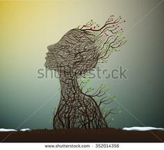 spring soul, tree branch looks like a woman's head stretching her face to the sun, nature icon concept, plant life, surrealism, vector - stock vector
