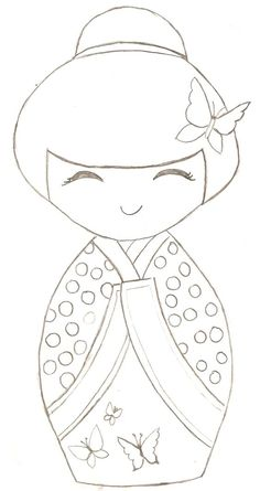 ♥♥ ۞ Kokeshi Doll -- can be used as a paper piecing pattern for cardmaking or scrapbooking or quilt. Colouring Pages, Coloring Books, Hand Embroidery, Embroidery Designs, Embroidery Stitches, Quilting, Kokeshi Dolls, Matryoshka Doll, Applique Patterns