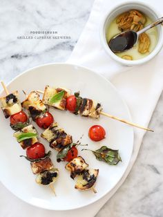 Grilled Caprese Skewers from @Heidi | FoodieCrush