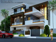 Marriage Advice From 1886 Snopes Key: 4381109211 Modern Bungalow House Design, Modern Bungalow Exterior, Modern Exterior House Designs, Modern Villa Design, Duplex House Design, House Front Design, Modern House Plans, House Extension Design, House Architecture Styles