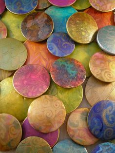 """Batik Series"" Lentil Bead Pendants by Nora Pero, polymer clay."