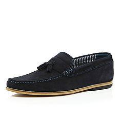 Navy blue suede tassel loafers - loafers - shoes / boots - men £50 #RImenswear #riverisland