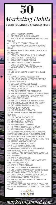 50 Smart Daily Marketing Habits Every Business Should Have. zanraconsulting.com/ #followback #entrepreneur #startup