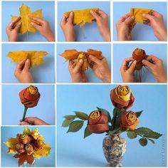 Róże z liści - dekoracje