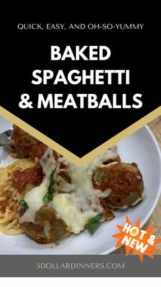 Best Pasta Recipes, Pasta Sauce Recipes, Beef Recipes, Dinner Recipes, Cooking Recipes, Food Dishes, Beef Dishes, Main Dishes, Baked Spaghetti And Meatballs