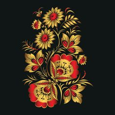 Illustration about Floral background in traditional Russian Khokhloma style. Yellow and red flowers. Illustration of ornament, design, decorative - 38326727 Russian Embroidery, Folk Embroidery, Sweater Embroidery, Drawing Stencils, Paisley Art, Russian Folk Art, Madhubani Art, Retro Flowers, Fabric Painting
