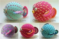 Crochet pufferfish--Russian website. So cute. I'd like to figure out a pattern.....