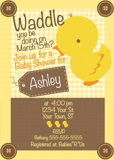Duck Baby Shower Invitation With BONUS Labels & by MacysandBaileys, $10.00