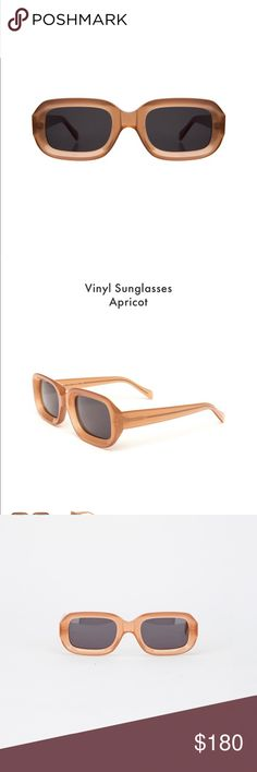 Illesteva Vinyl Sunglasses in Apricot SS18 This very rectangle shaped lens and frame gives this pair of sunglasses a very vintage feel. The bold colored frames make this throwback to the 1950s and 1960s real and unique. Perfect for people who want to channel an old school vibe. The Vinyl works well on round-shaped faces. Brand new in case. Illesteva Accessories Sunglasses
