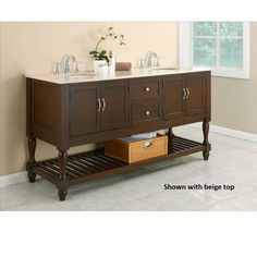This 70-inch mission-style double vanity console creates a spa-like environment in any bathroom with its cool marble top. Beautifully-crafted wood turned legs on the dark wood cabinet make for a more traditional style, combining both elegance and warmth.