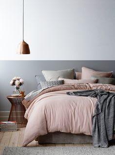 Grey half wall in bedroom