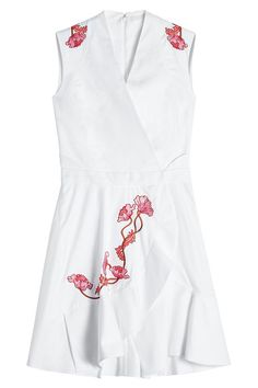 Carven Woman Wrap-effect Embroidered Cotton-twill Mini Dress White Size 34 Carven gUl8JZ