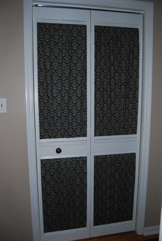 Give an old louvered closet door a makeover with some fresh paint and fabric.