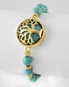 Turquoise Acrylic / Tree Bracelet