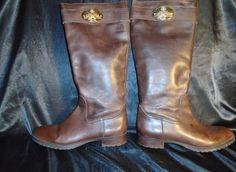9M, Riding Boots Women's LAUREN RALPH Brown Leather Side Zip Knee Vintage #LaurenRalphLauren #KneeHighBootsRidingSideZipper #Casual