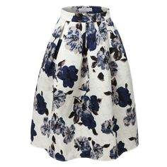 LE3NO Womens High Waisted Flared Pleated Floral Midi Skirt ($25) ❤ liked on Polyvore featuring skirts, high waisted pleated skirt, flared midi skirt, pleated midi skirt, flare skirt and midi flare skirt