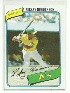 1980 Topps #482 Rickey Henderson RC UER Oakland A's EXMT/NM #Athletics #OaklandAthletics