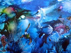"Encaustic Art Painting "" under water"" by Martina Loos"