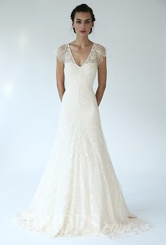 "Brides.com: Lela Rose - Fall 2014. Style B07137, ""The Forest"" v-neck placed lace A-line wedding dress, Lela Rose"