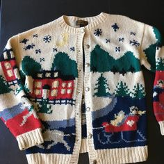 e6fe63e91e35 Details about Vintage Eddie Bauer Womens Cardigan Sweater Holiday Winter  Scene Wool Large