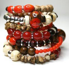 Memory Wire Wrap Bracelet. Beaded. Nature Nurtured. Orange. Russet. Tan. Brown. Stone. Wood. Accessories Bangle