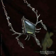 Deer antlers,feathers and labradorite pendant Deer Antlers, Pagan, Labradorite, Feathers, Brooch, Pendant, Jewelry, Fashion, Deer Horns