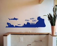 Wandtattoo Unterwasserwelt 'Shark Attack'. Wandaufkleber Unterwasserwelt ab 50cm Breite Wallttattoo Sea Wallsticker