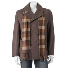 Big & Tall Towne Wool-Blend Double-Breasted Peacoat With Plaid Scarf, Men's, Size: L Tall, Med Brown
