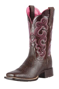 Women's Ariat Boots Quickdraw Chocolate Elephant Print Performance Cowgirl Boots